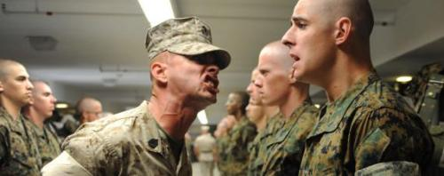 A US Marine Corps drill instructor screams at a Marine recruit during boot camp at Marine Corps Recruit Depot July 8, 2009 in San Diego, CA.